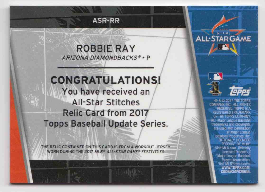 2017 Topps Update All-Star Stitches Relics Robbie Ray #ASR-RR card back image