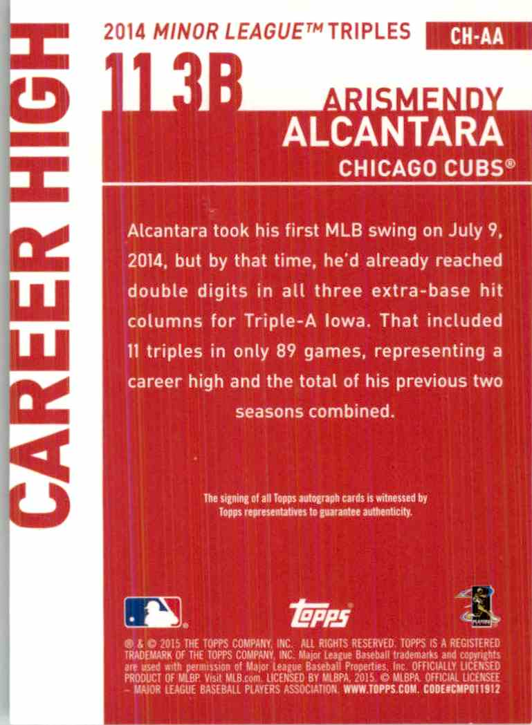 2015 Topps Arismendy Alcantara #CH-AA card back image