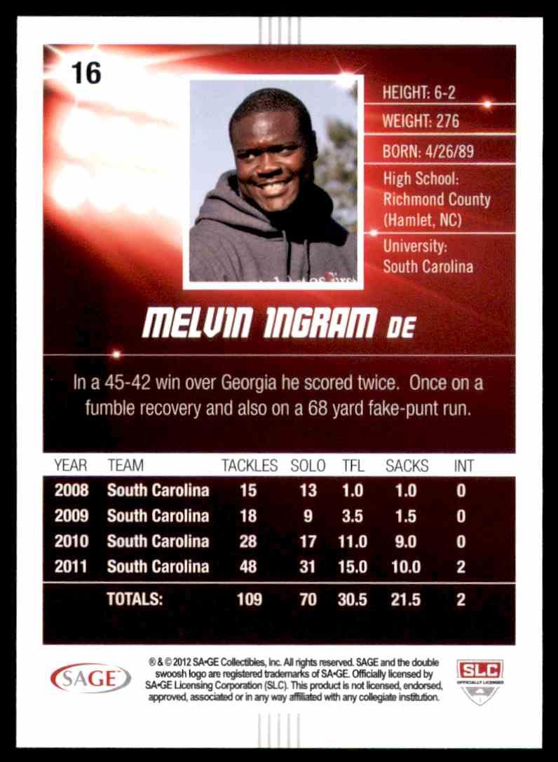 2012 Sage Hit Elvin Ingram #16 card back image
