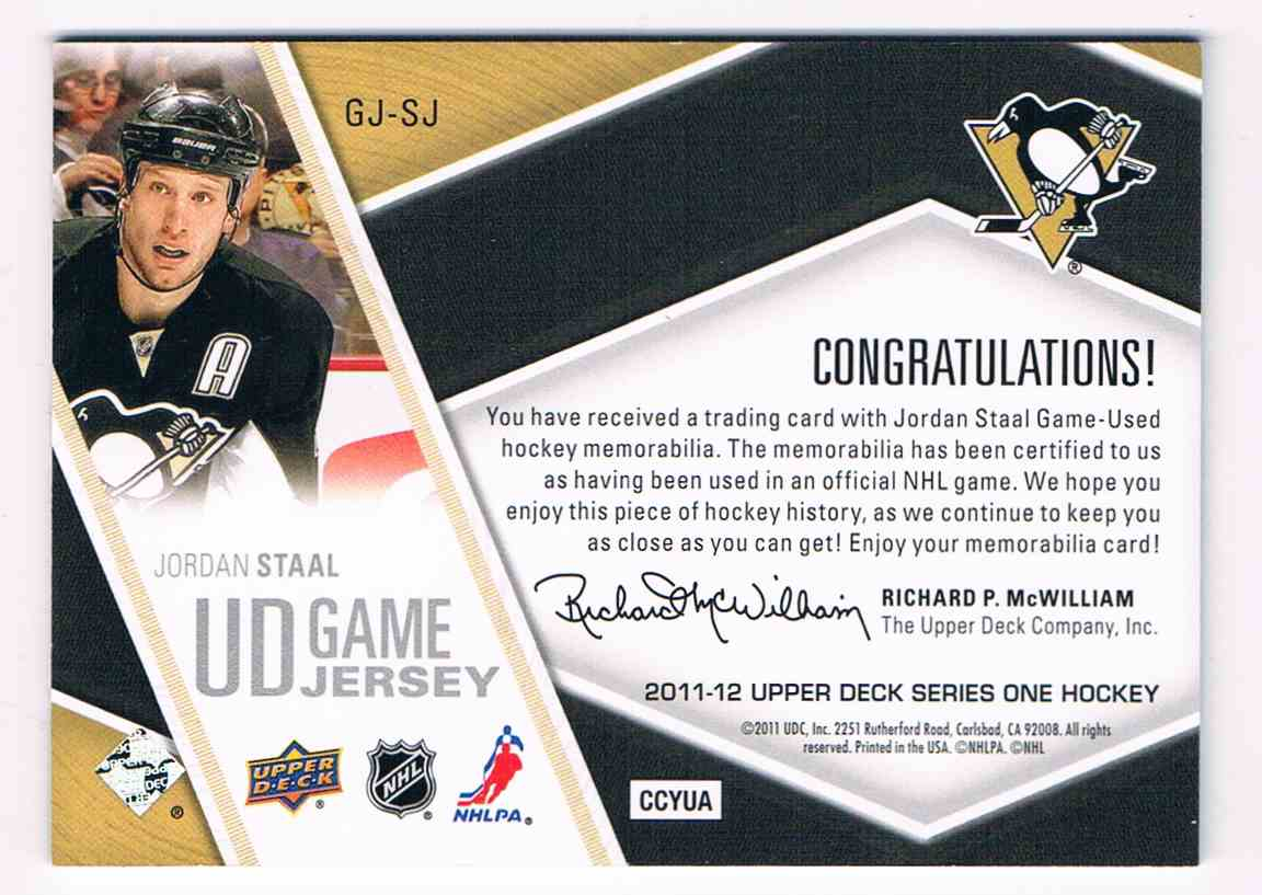 2011-12 Upper Deck UD Game Jersey Series One Jordan Staal #GJ-SJ card back image