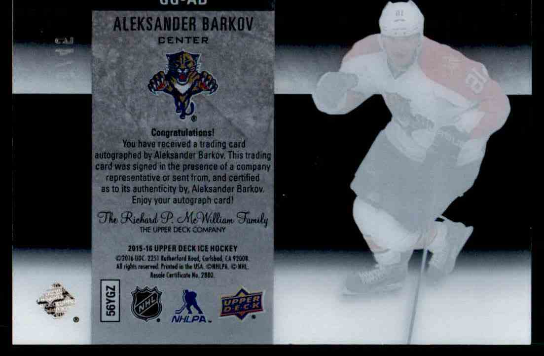 2015-16 Upper Deck Ice Glacial Graphs Alexander Barkov #GG-AB card back image