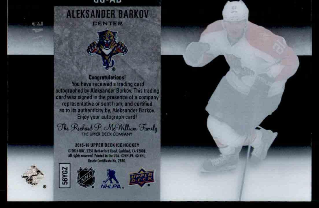 2015-16 Upper Deck Ice Glacial Graphs Alexander Barkov #GG-AB card back image