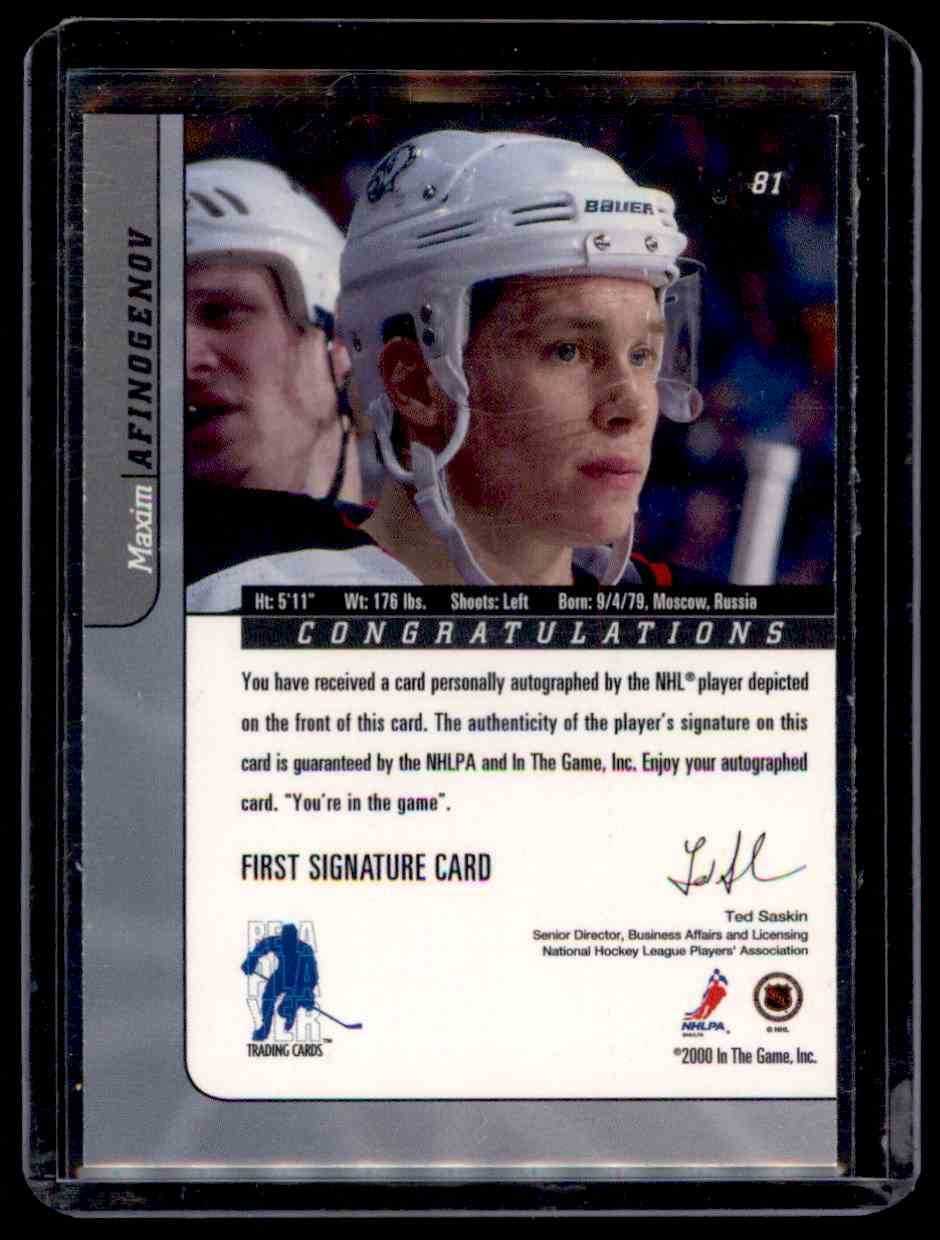 2000-01 Be A Player Signature Series Autographs Maxim Afinogenov #81 card back image