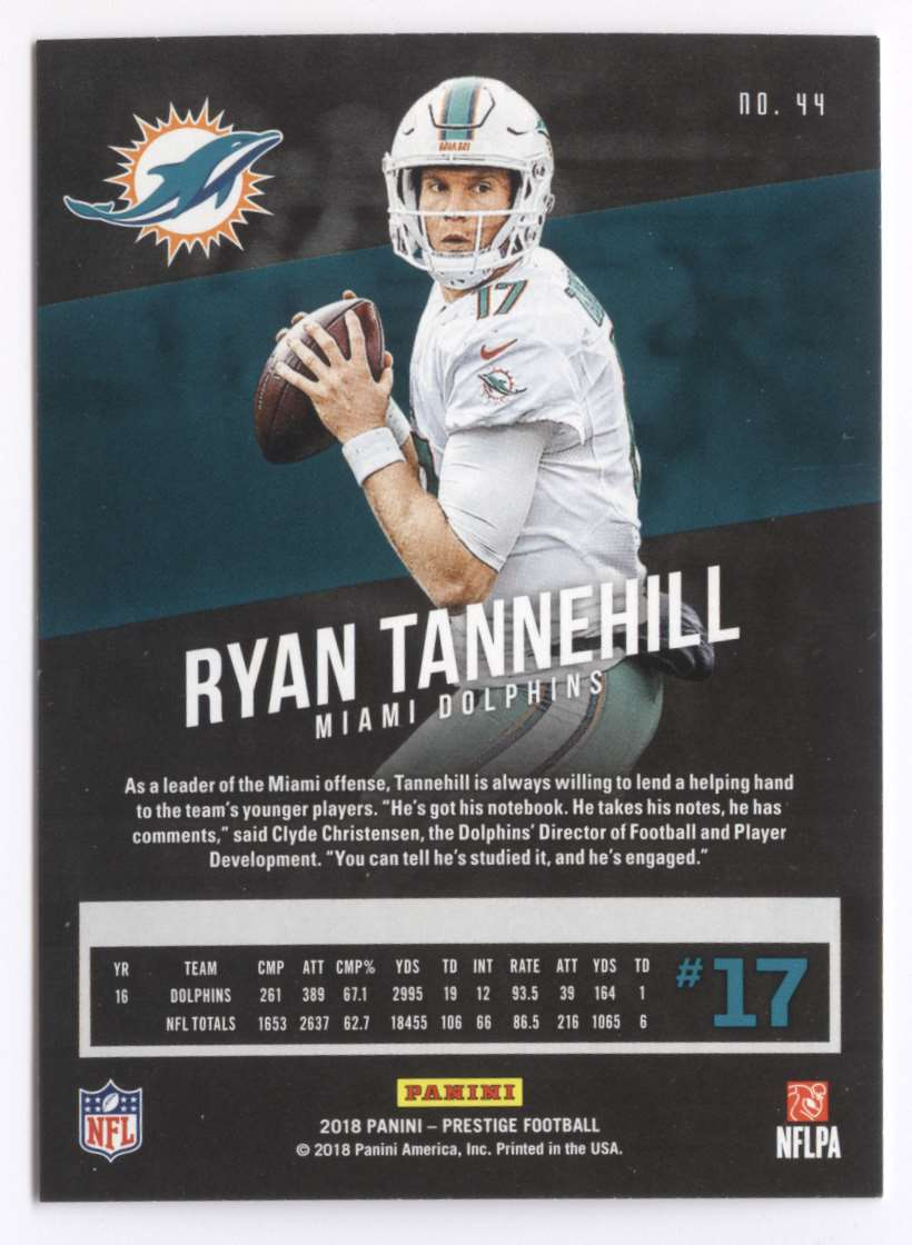 2018 Panini Prestige Ryan Tannehill #44 card back image