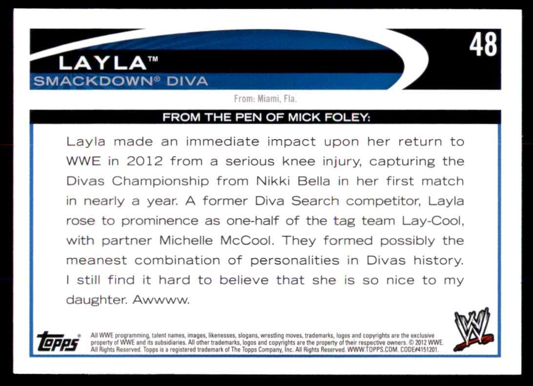 2012 Topps Wwe Layla #48 card back image