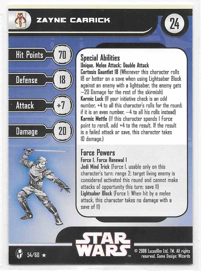 2008 Star Wars Miniatures Zayne Carrick Stat Card Only Near Mint On