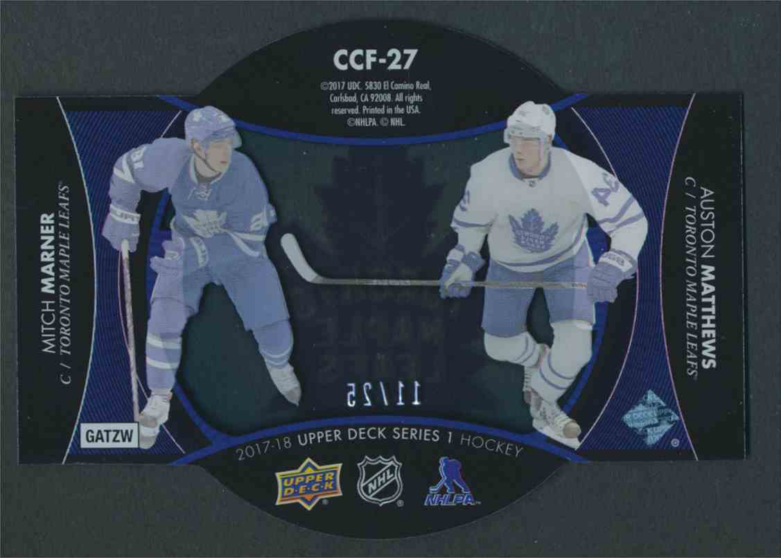 2017-18 Upper Deck ClearCut Foundations Auston Matthews Mitch Marner #CCF-27 card back image