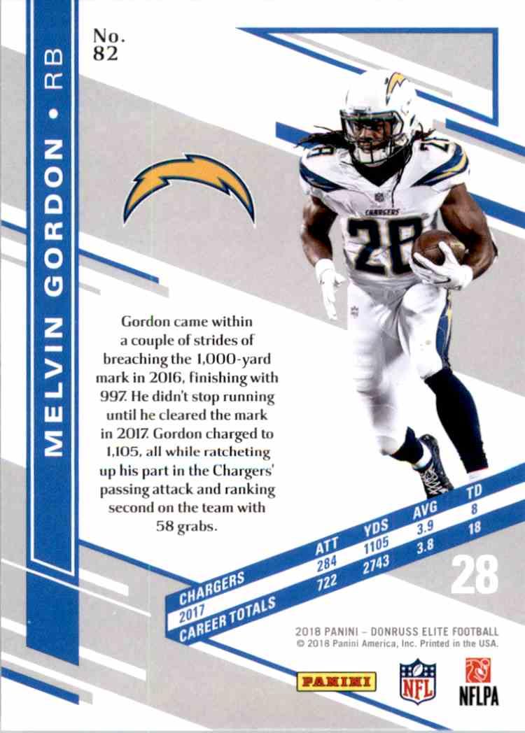 2018 Elite Melvin Gordon #82 card back image
