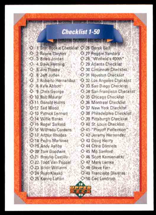 1992 Upper Deck Checklist 1-100 #100 card front image