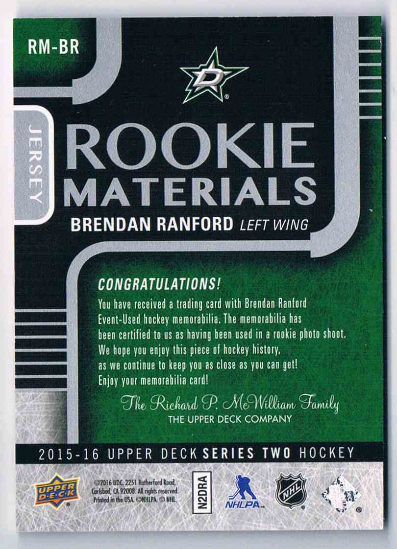 2015-16 Upper Deck Rookie Materials Brendan Ranford #RM-BR card back image