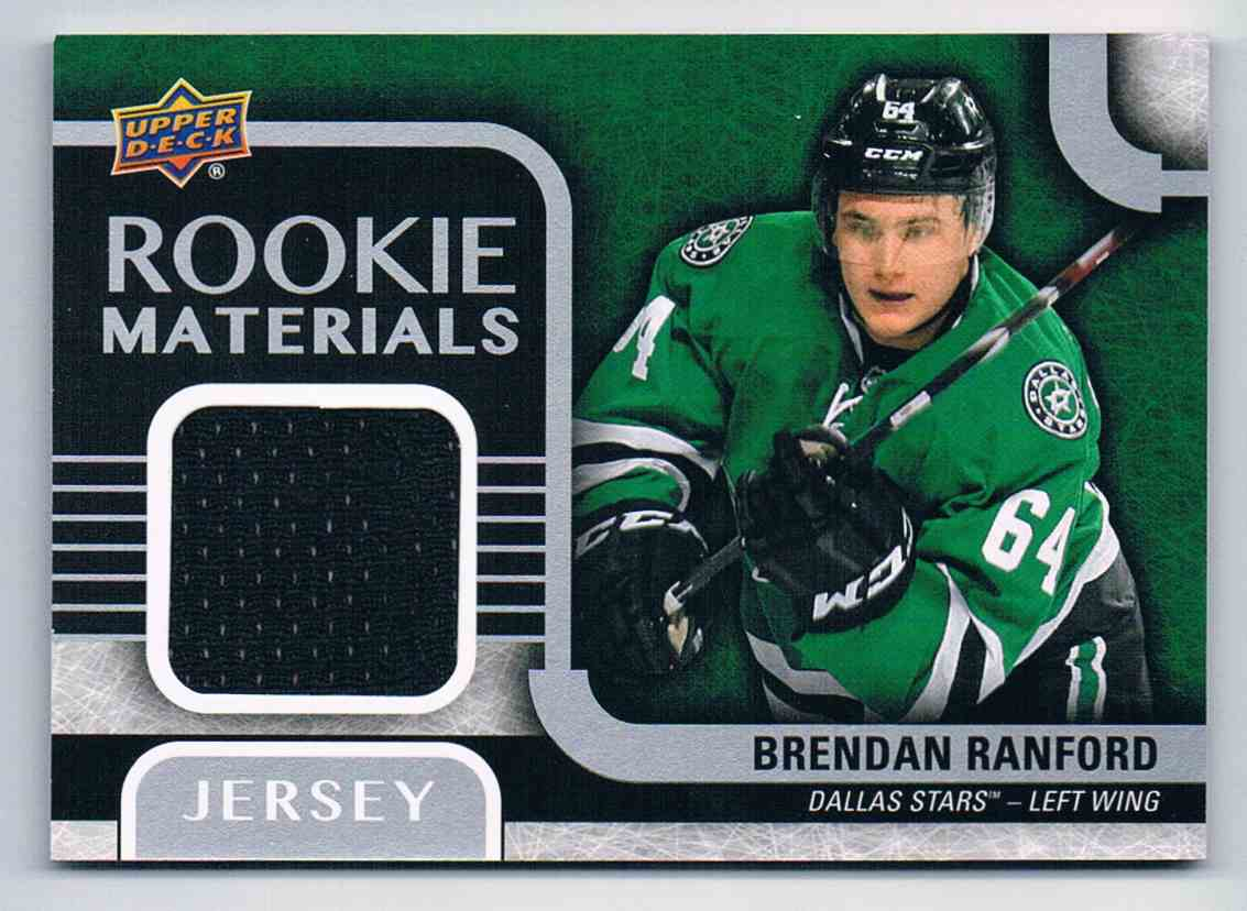 2015-16 Upper Deck Rookie Materials Brendan Ranford #RM-BR card front image