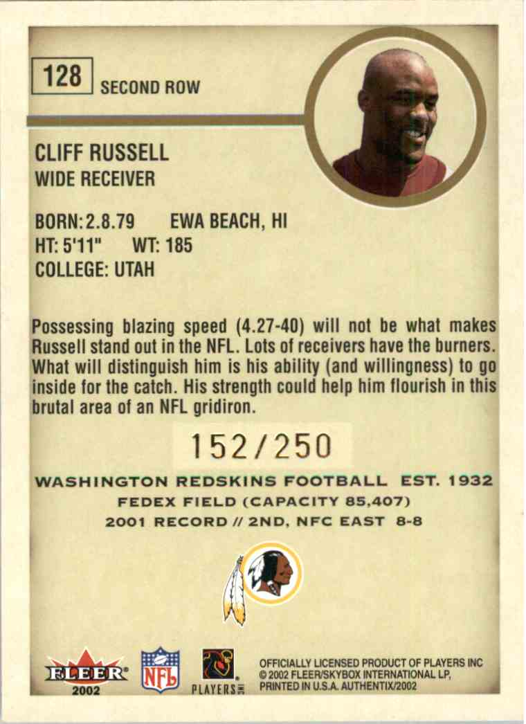 2002 Fleer Authentix Cliff Russell #128 card back image