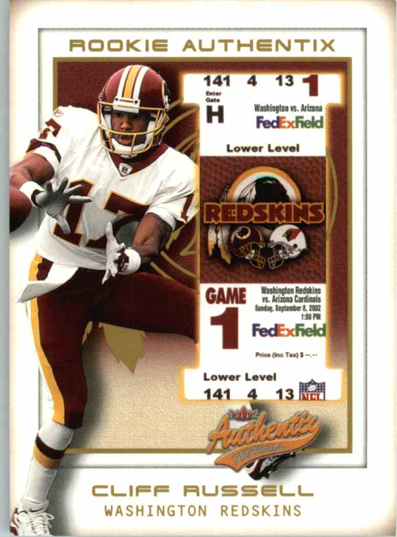 2002 Fleer Authentix Cliff Russell #128 card front image