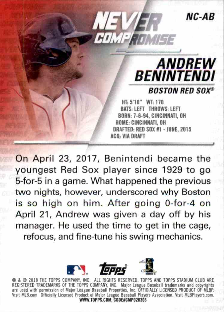 2018 Stadium Club Never Compromise Andrew Benintendi #NCAB card back image