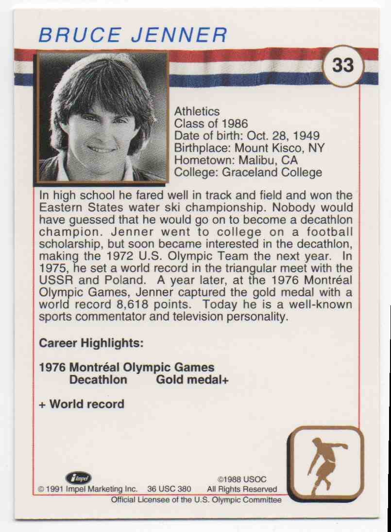 1991 Impel U.S. Olympic Hall Of Fame Bruce Jenner #33 card back image