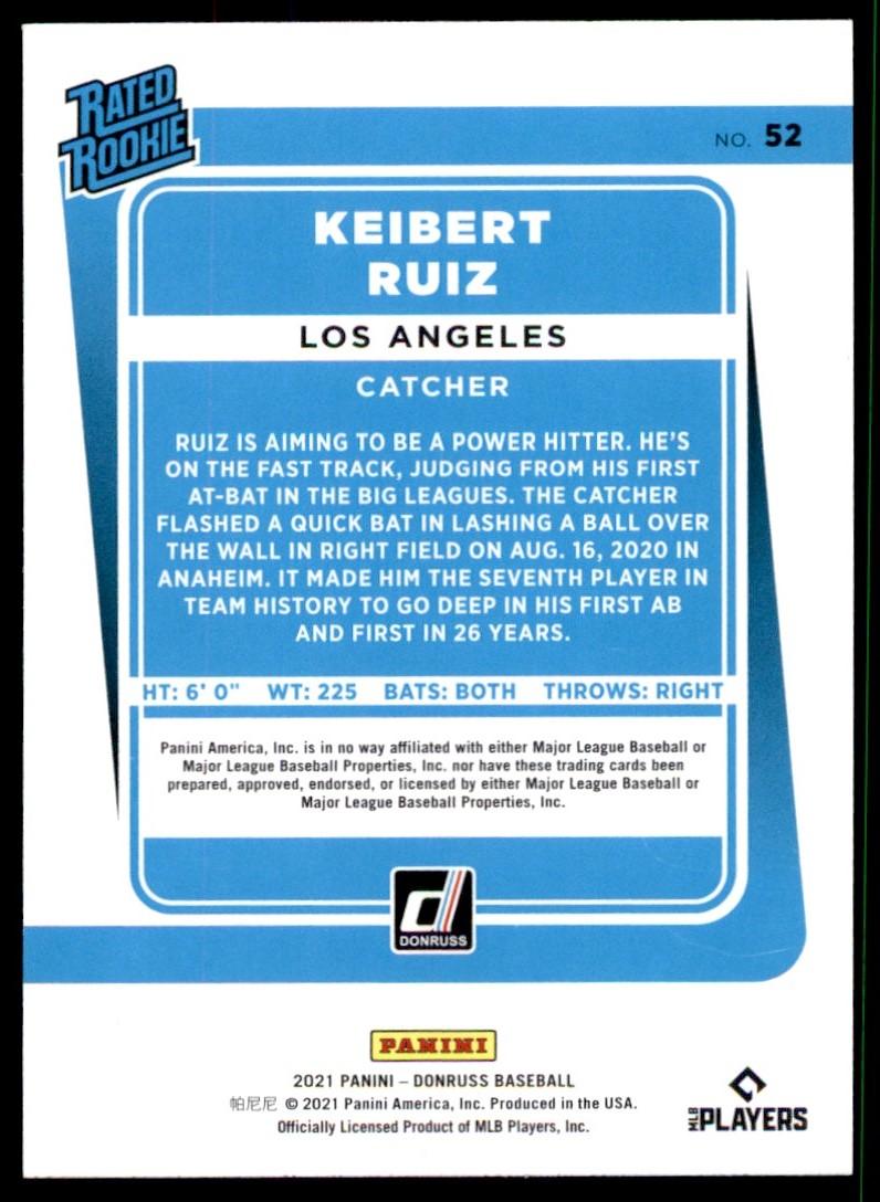 2021 Donruss Keibert Ruiz #52 card back image