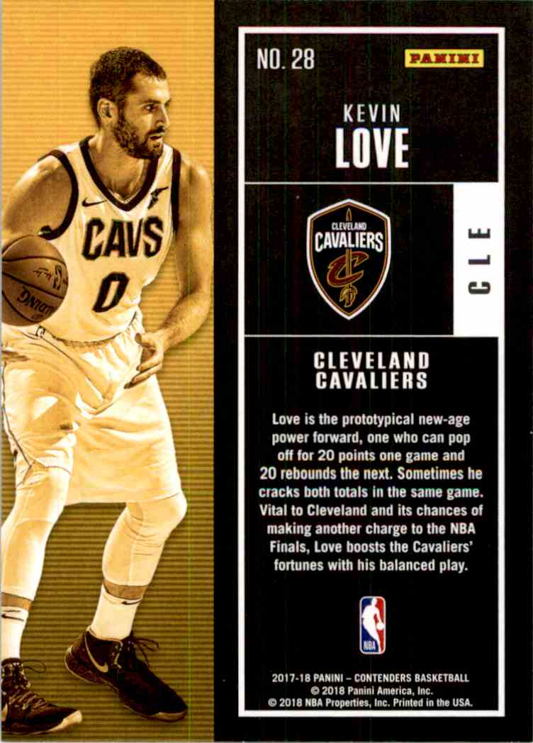 2017-18 Panini Contenders Base Kevin Love #28 card back image
