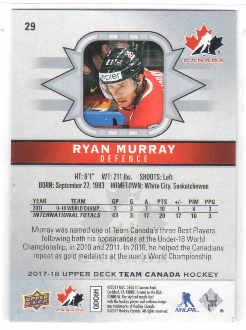 2017-18 Upper Deck Team Canada Canadian Tire Ryan Murray #29 card back image