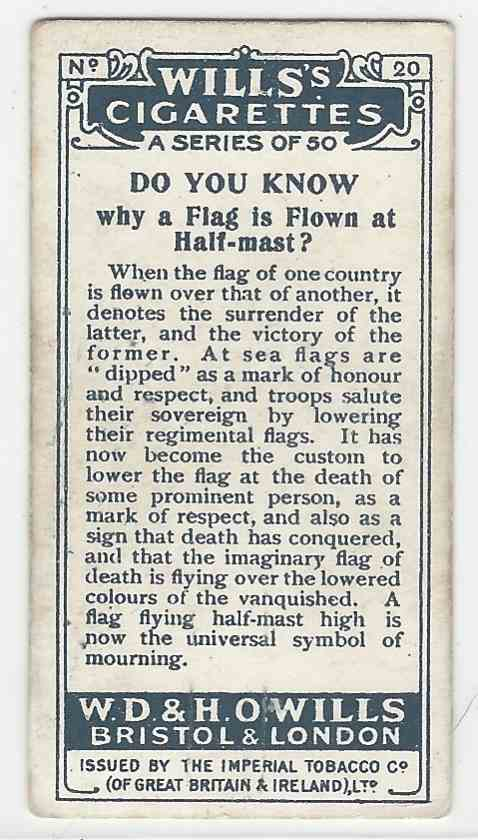 1922 Wills's Do You Know A Flag, Half Mast card back image
