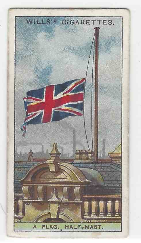 1922 Wills's Do You Know A Flag, Half Mast card front image
