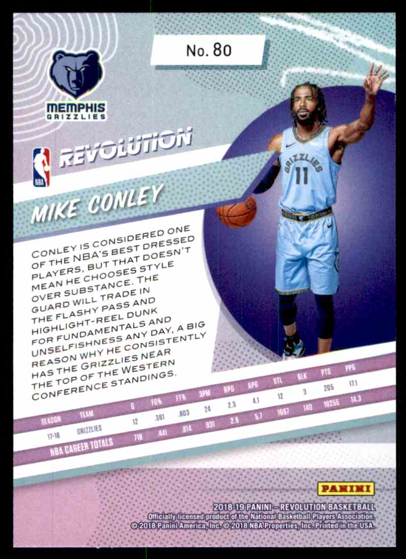 2018-19 Panini Revolution Base Mike Conley #80 card back image