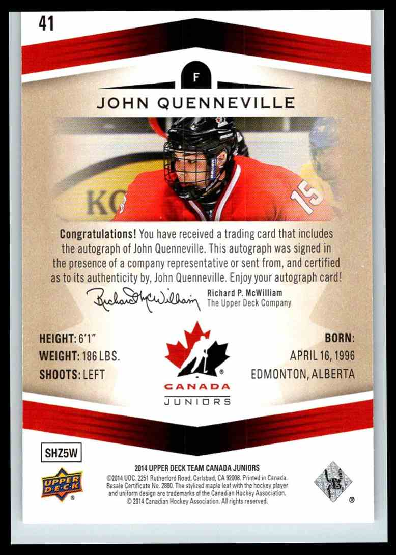 2014-15 Upper Deck Team Canada Juniors Autographs Gold John Quenneville #41 card back image