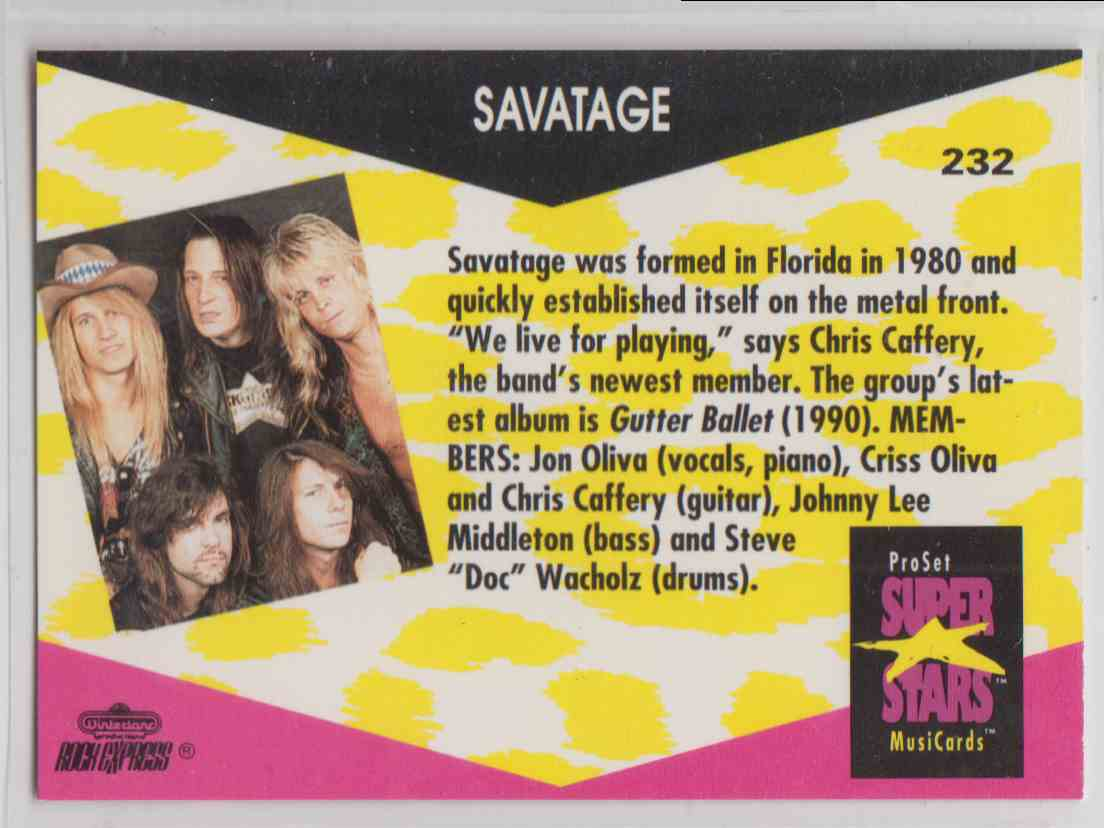 1991 Pro Set SuperStars MusiCards Savatage #232 card back image