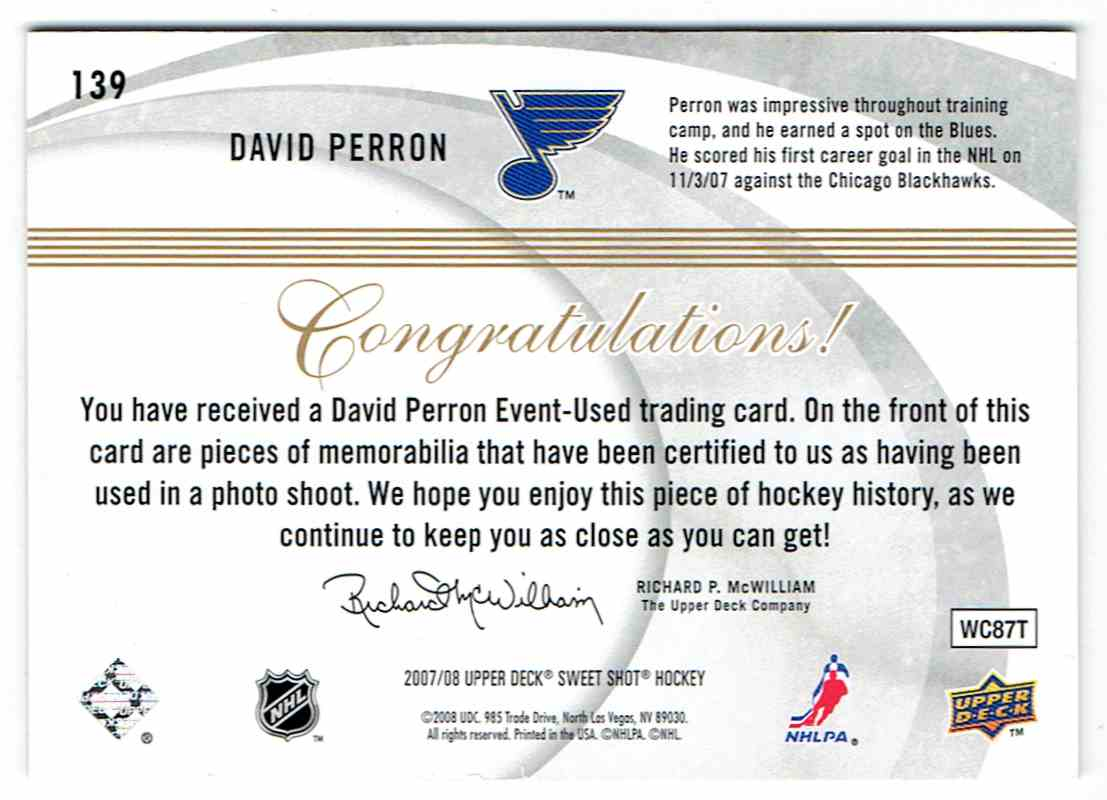 2007-08 Upper Deck Sweet Shot Sweet Beginnings Rookie Jersey David Perron #139 card back image