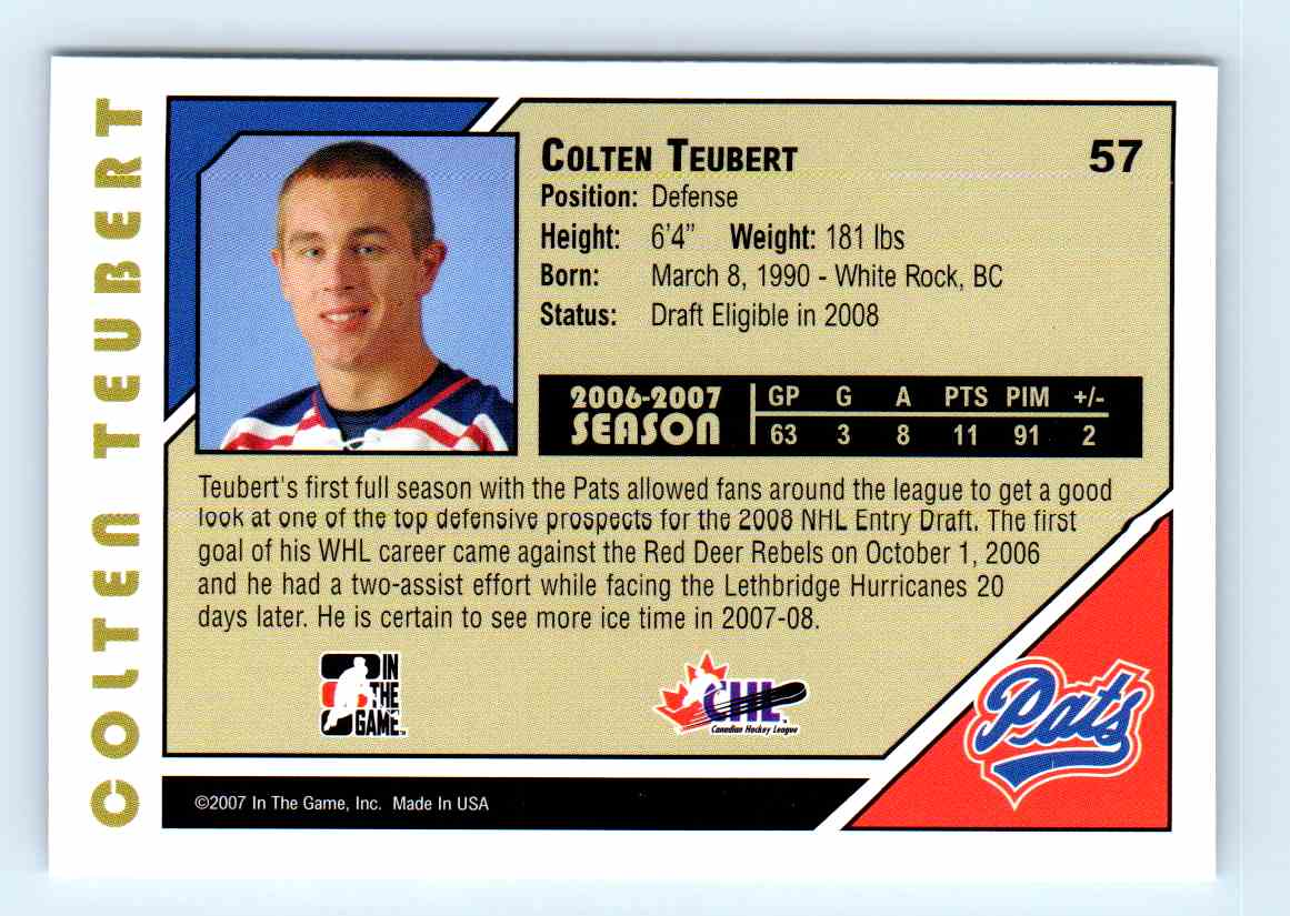 2007-08 ITG Heroes And Prospects Coltem Teubert #57 card back image