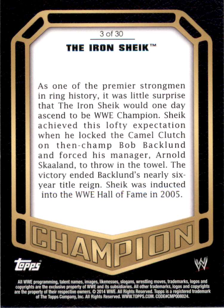 2014 Topps Wwe Champions The Iron Sheik #3 card back image