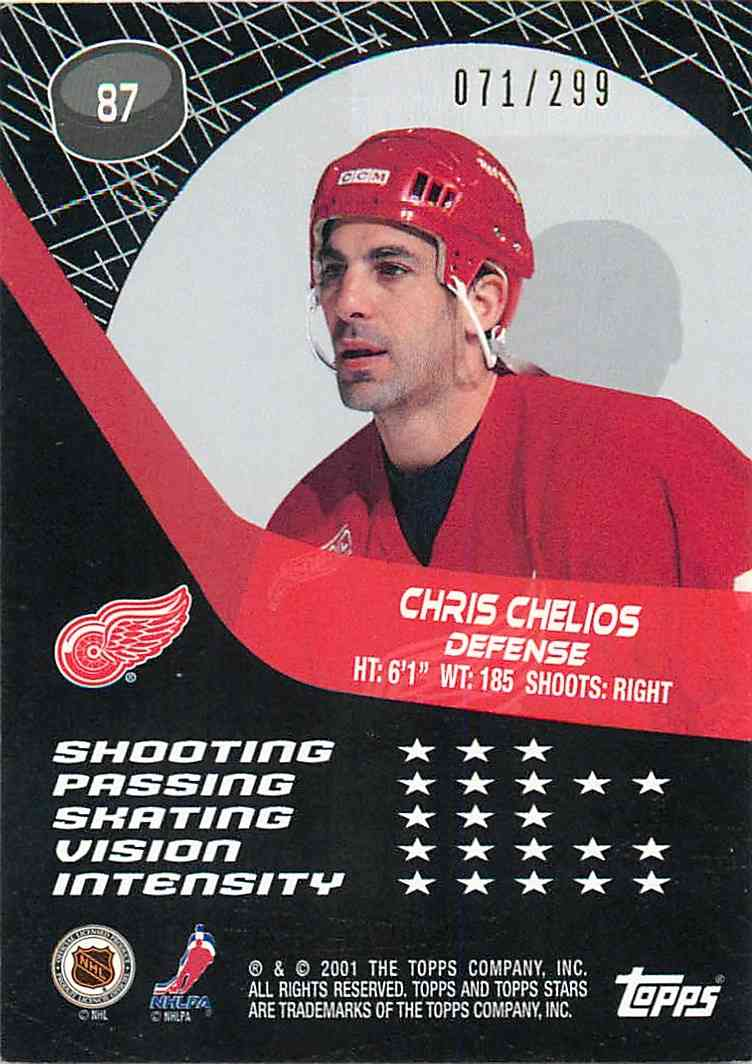 2001-02 Topps Star Chris Chelios #87 card back image
