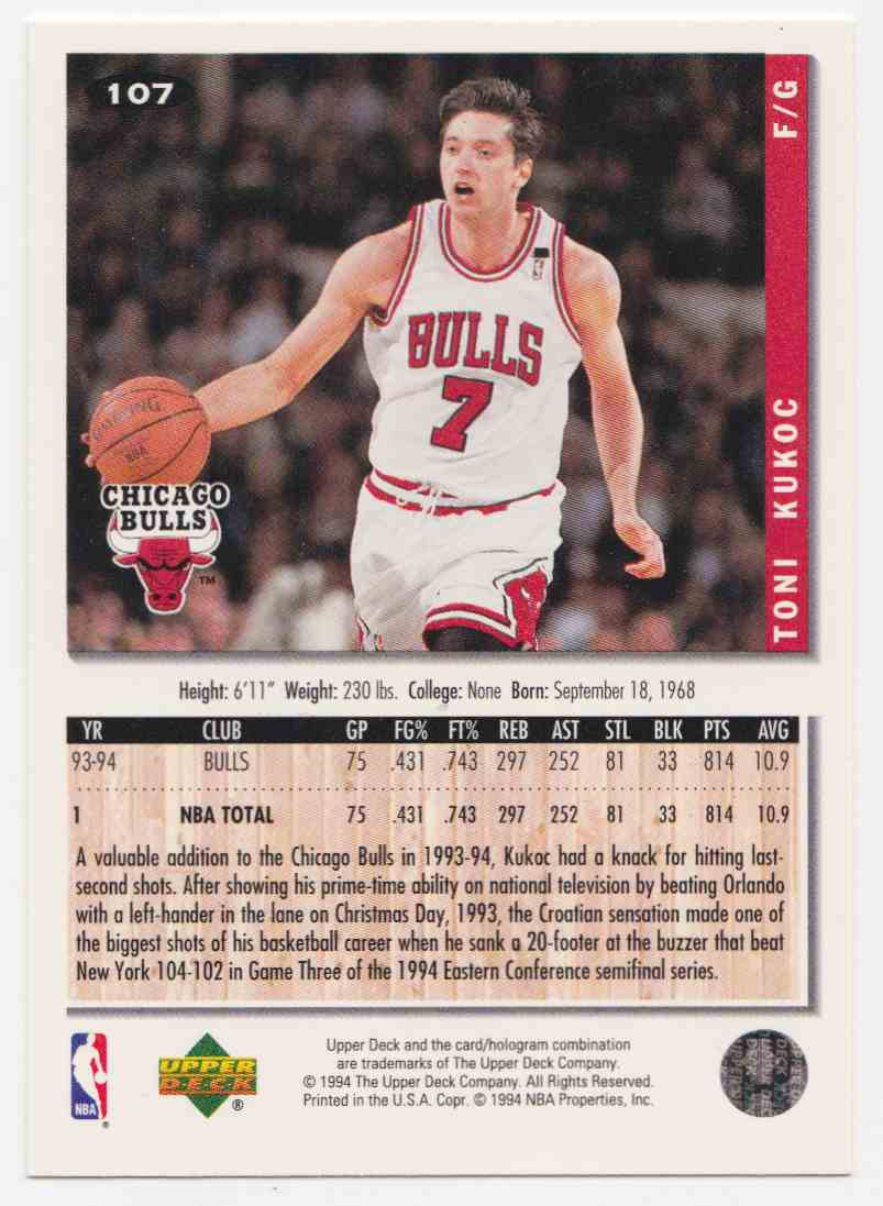 1994-95 Upper Deck Collector's Choice Base Toni Kukoc #107 card back image