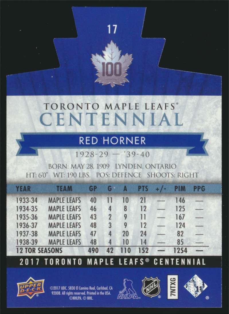 2017-18 UD Maple Leafs Centennial Die Cut Red Horner #17 card back image