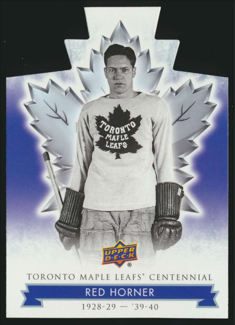 2017-18 UD Maple Leafs Centennial Die Cut Red Horner #17 card front image