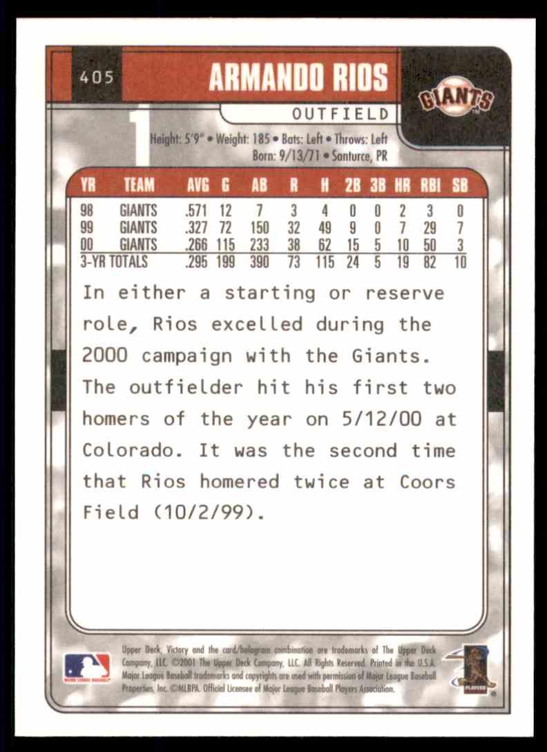 2001 Upper Deck Victory Armando Rios #405 card back image