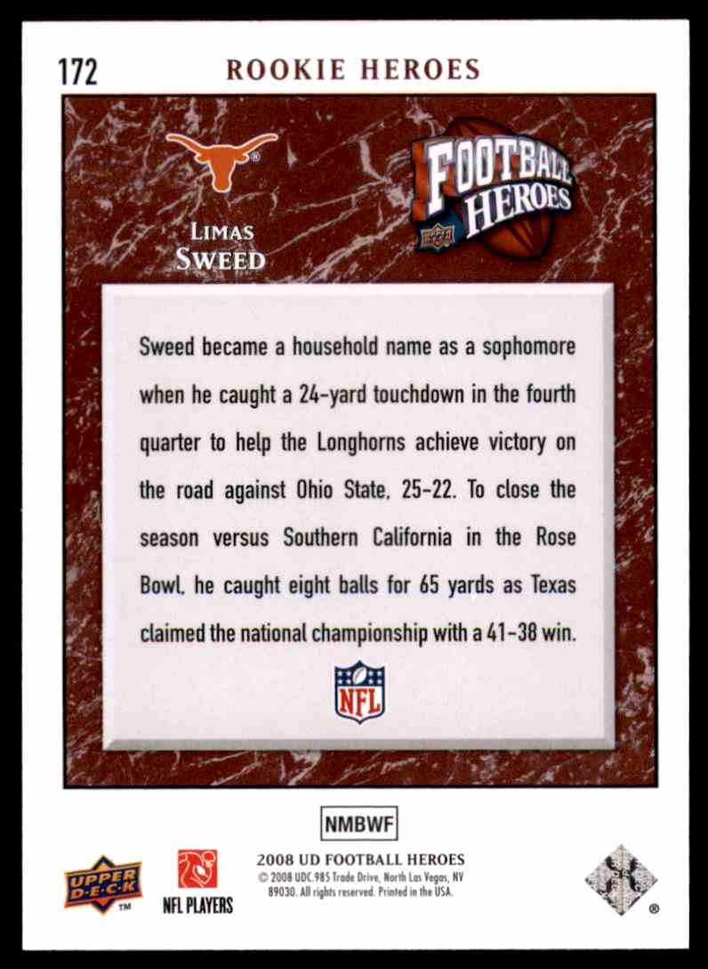2008 Upper Deck Heroes Limas Sweed RC #172 card back image
