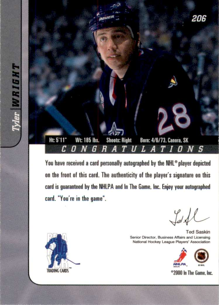 2000-01 Bap Signature Series Autographs Tyler Wright #206 card back image
