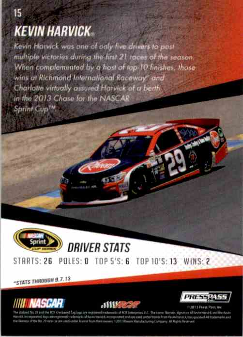 2014 Press Pass Kevin Harvick #15 card back image