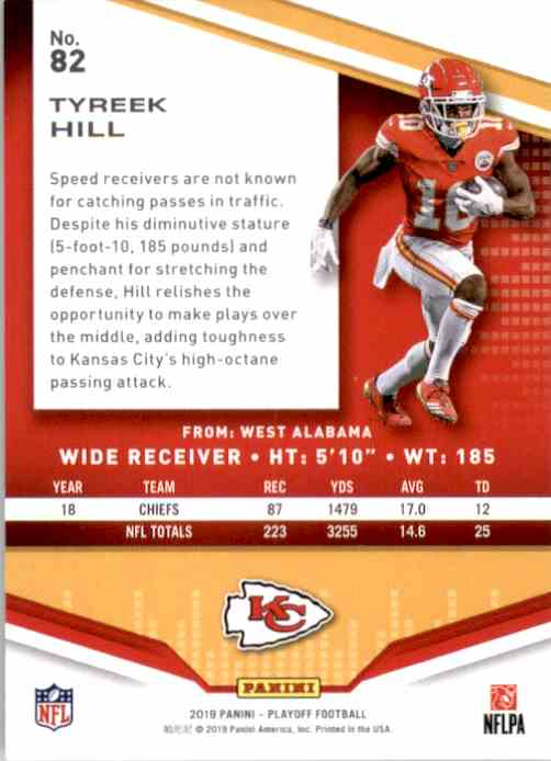 2019 Playoff Tyreek Hill #82 card back image