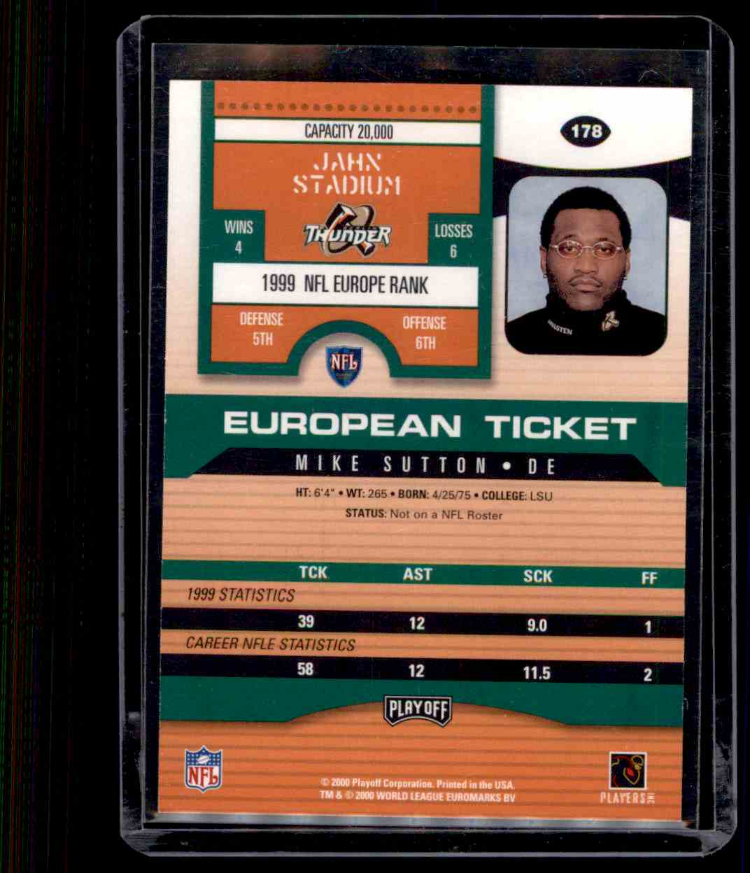 2000 Playoff Contenders Mike Sutton #178 card back image