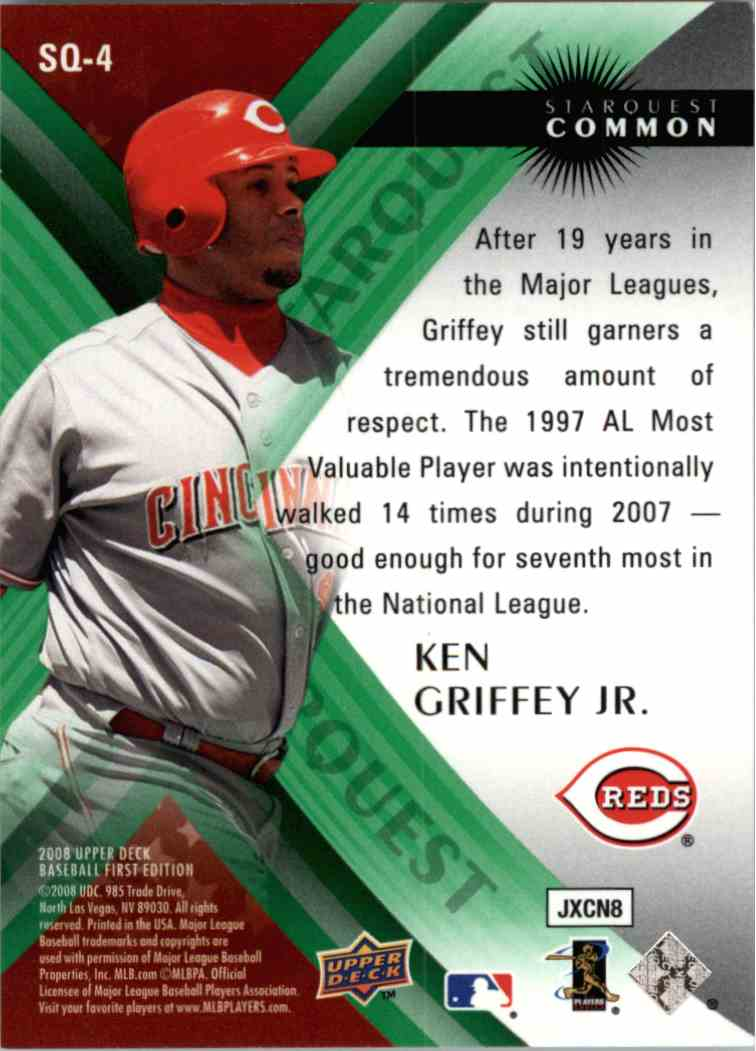 2008 Upper Deck Ken Griffey JR #SQ4 card back image