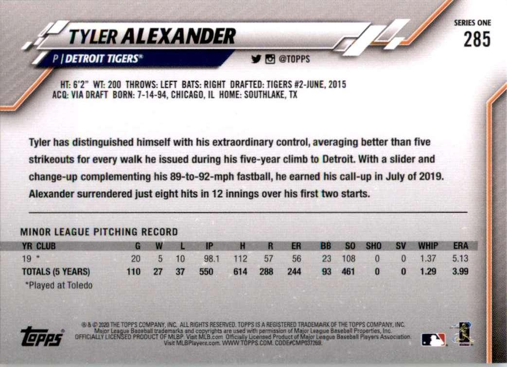 2020 Topps Tyler Alexander #285 card back image