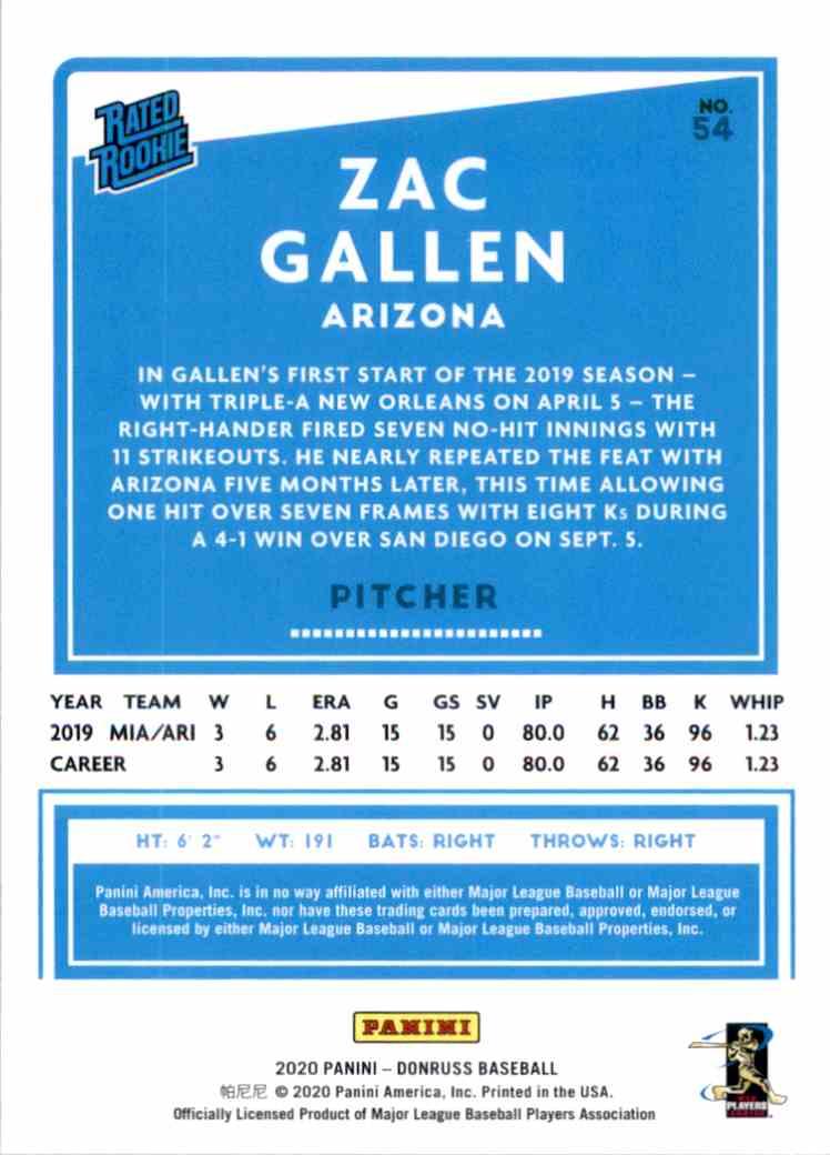 2020 Donruss Zac Gallen Rr RC #54 card back image