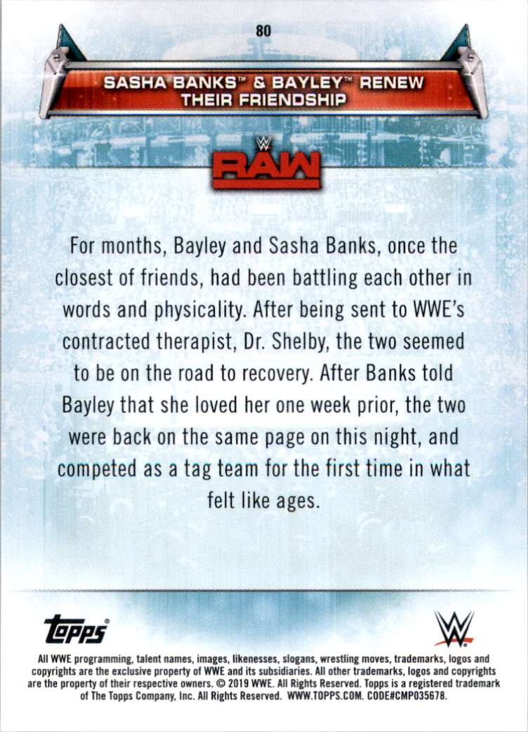 2019 Topps Wwe Women's Division Sasha Banks & Bayley Renew Their Friendship #80 card back image