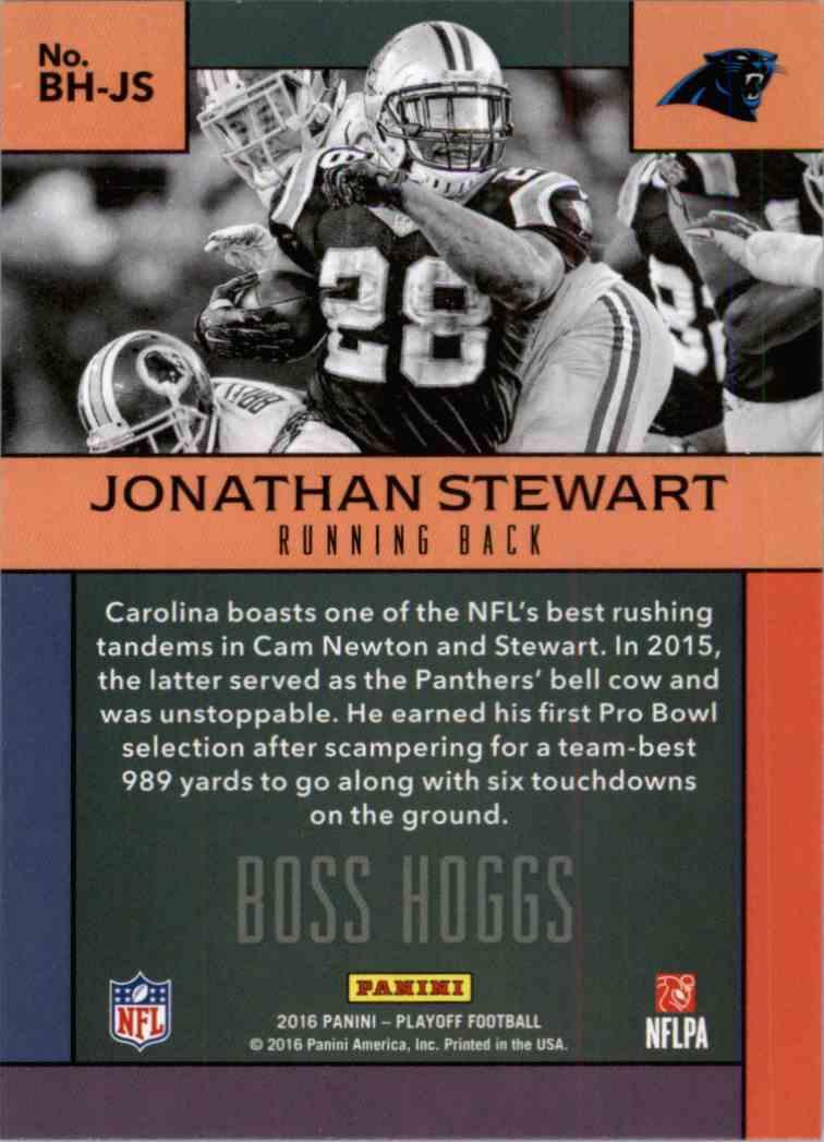 2016 Panini Playoff Jonathan Stewart #BH-JS card back image