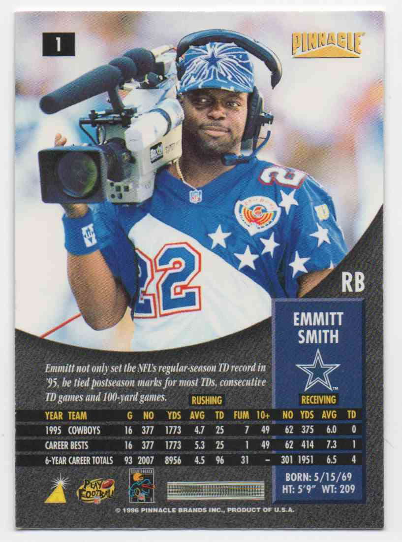1996 Pinnacle Foil Emmitt Smith #1 card back image