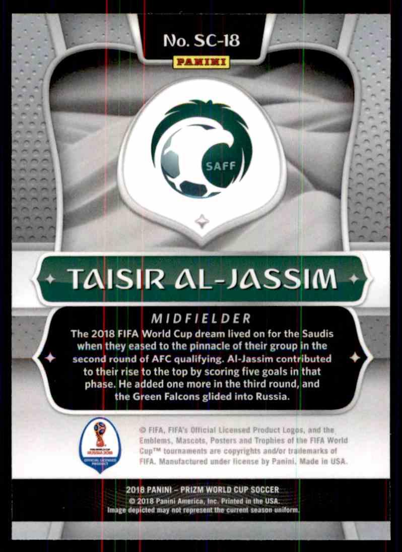2018 Panini Prizm World Cup Scorers Club Taisir Al-Jassim #SC-18 card back image