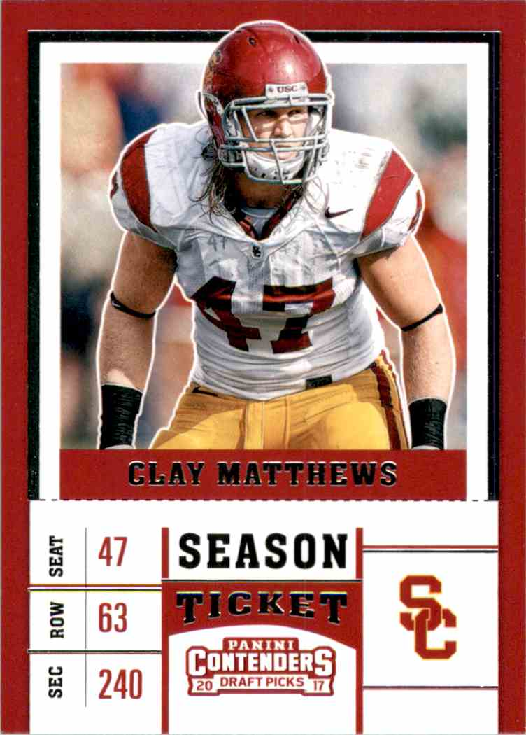 2017 Panini Contenders Draft Picks Clay Matthews #20 card front image