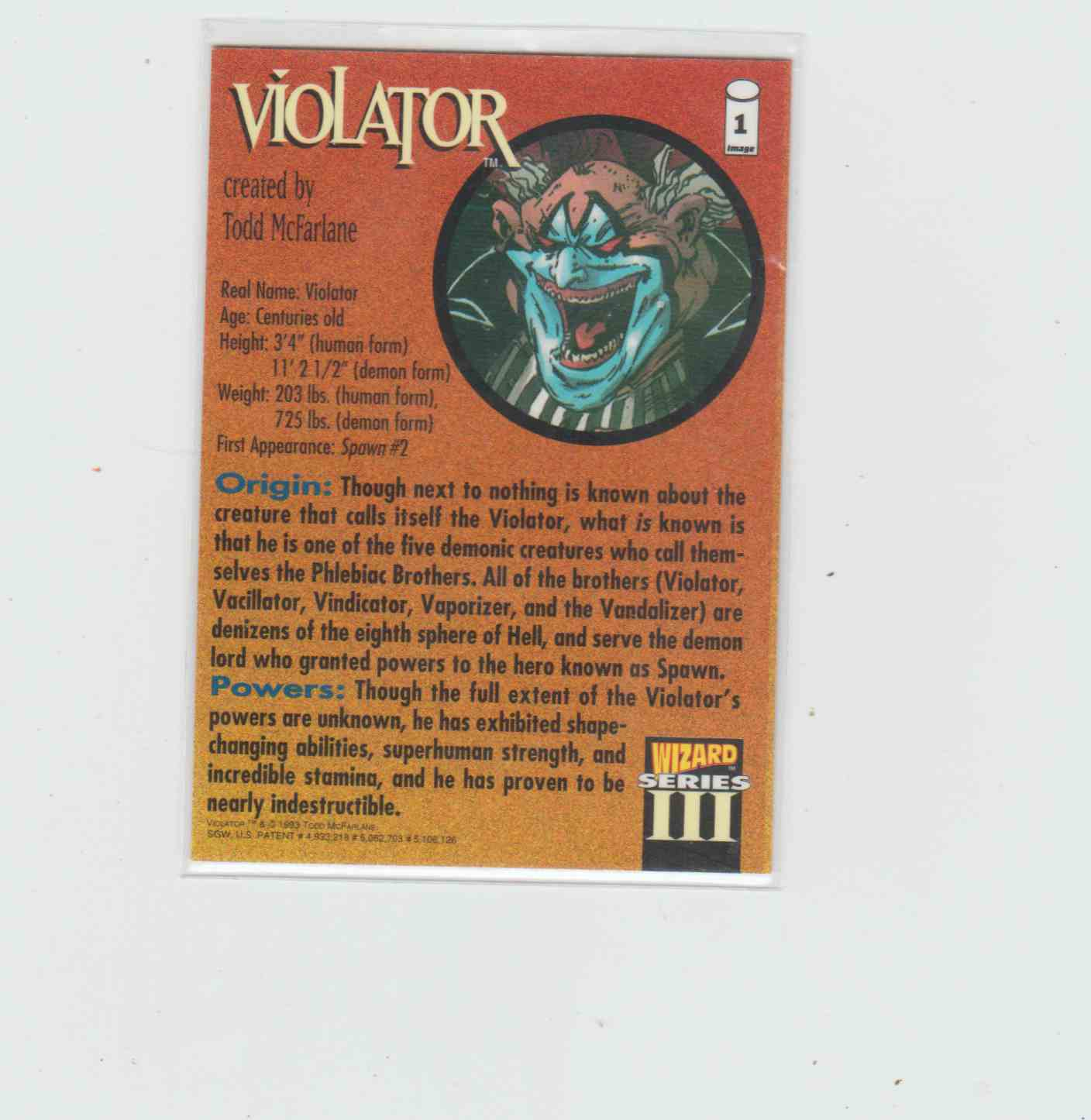 1993 Wizard Series III Todd McFarlane Violator #1 card back image