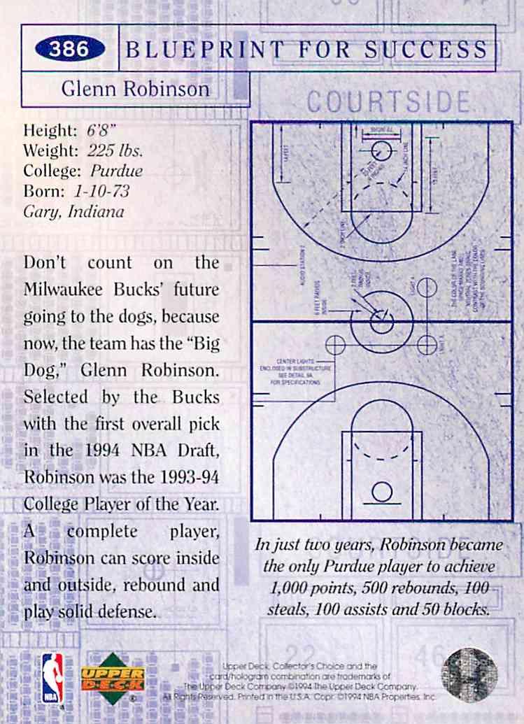 1994-95 Collector's Choice Bp Glenn Robinson #386 card back image